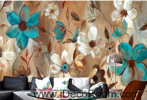 Image of Beautiful dream fresh blue white blooming flower painting wall art wall decor mural wallpaper wall  IDCWP-000194