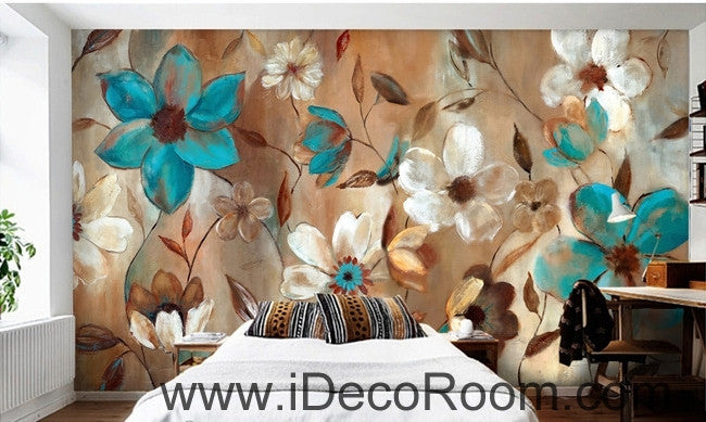 Beautiful dream fresh blue white blooming flower painting wall art wall decor mural wallpaper wall  IDCWP-000194