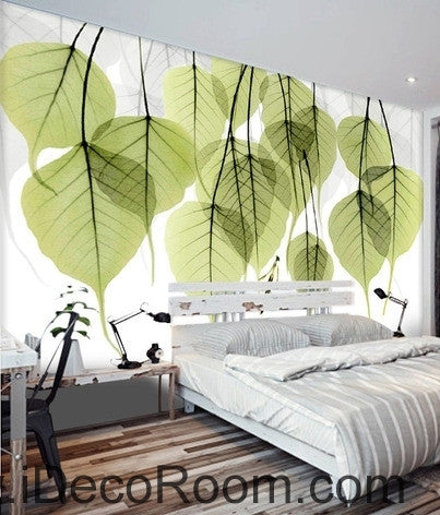 Beautiful dream fresh green transparent small round leaves overlapping wall art wall decor mural wallpaper wall  IDCWP-000196