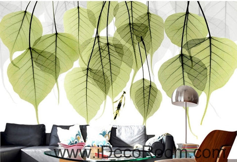 Image of Beautiful dream fresh green transparent small round leaves overlapping wall art wall decor mural wallpaper wall  IDCWP-000196
