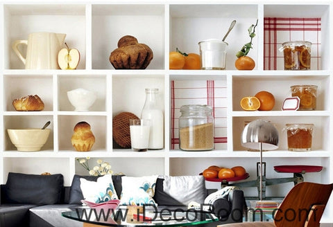 Image of A beautiful freshly lita painted fruit bread drink canned kitchen wall art wall decor mural wallpaper wall  IDCWP-000197