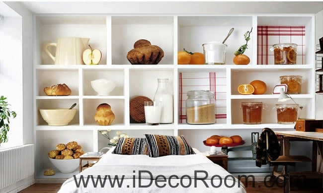 A beautiful freshly lita painted fruit bread drink canned kitchen wall art wall decor mural wallpaper wall  IDCWP-000197