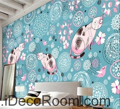 Cute cartoon blue pattern flowers and birds cat animal oil painting effect wall art wall decor mural wallpaper wall  IDCWP-000198