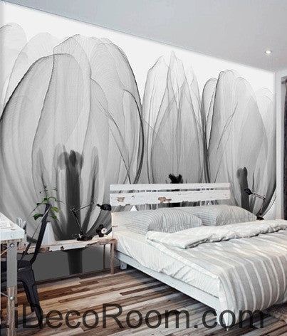 Beautiful black and white art tulips petals transparent flowers close wall art wall decor mural wallpaper wall  IDCWP-000199