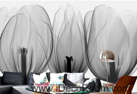 Image of Beautiful black and white art tulips petals transparent flowers close wall art wall decor mural wallpaper wall  IDCWP-000199