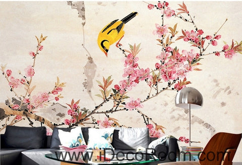 Image of Retro beautiful pink cherry on the oriole magpie bird oil painting effect wall art wall decor mural wallpaper wall  IDCWP-000200