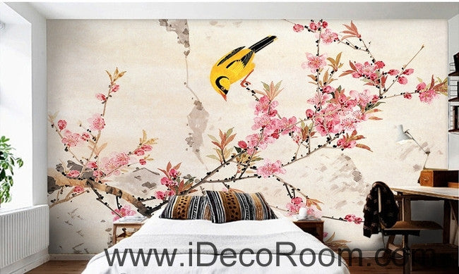 Retro beautiful pink cherry on the oriole magpie bird oil painting effect wall art wall decor mural wallpaper wall  IDCWP-000200