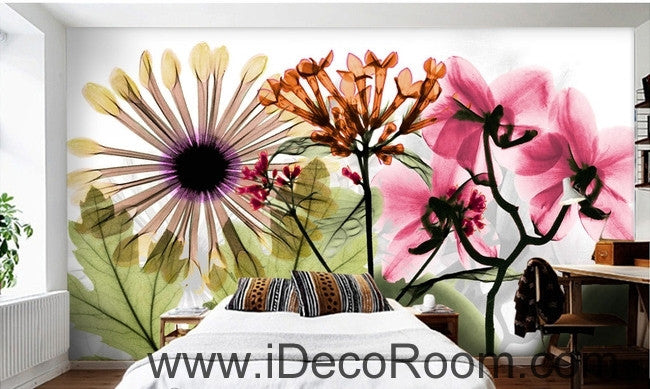 Beautiful dream fresh colorful flowers daisy transparent flowers wall art wall decor mural wallpaper wall  IDCWP-000202