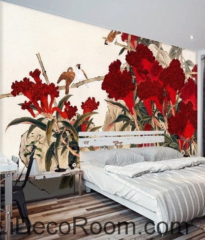 Retro Hongyan a piece of cockscomb flowers on the magpie bird oil painting effect wall art wall decor mural wallpaper wall  IDCWP-000203