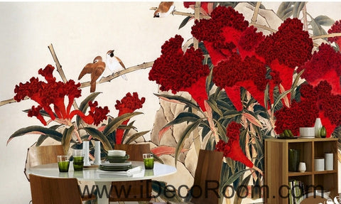 Image of Retro Hongyan a piece of cockscomb flowers on the magpie bird oil painting effect wall art wall decor mural wallpaper wall  IDCWP-000203