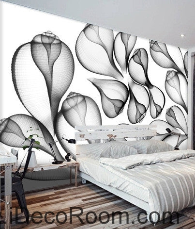 Image of Beautiful dream black and white art transparent leaf flower wall art wall decor mural wallpaper wall paper IDCWP-000205