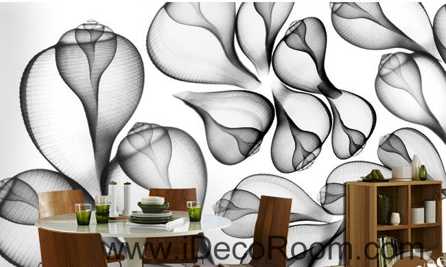 Beautiful dream black and white art transparent leaf flower wall art wall decor mural wallpaper wall paper IDCWP-000205