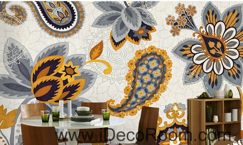 Image of European Style Retro Floral Flower National Wind oil painting effect wall art wall decor mural wallpaper wall  IDCWP-000206