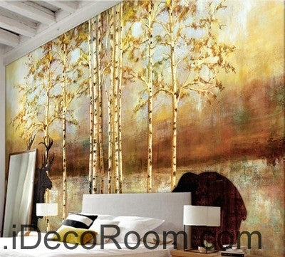 Beautiful dream golden tree wall art wall decor mural wallpaper wall ...