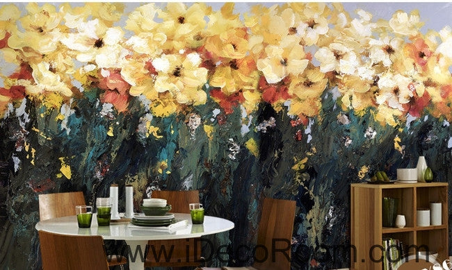 Beautiful fantasy abstract blooming yellow flowers flower oil painting effect wall art wall decor mural wallpaper wall  IDCWP-000208