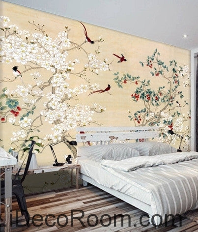 Image of New Chinese flowers and birds Yangmei magnolia flower on the magpie bird painting wall art wall decor mural wallpaper wall  IDCWP-000209