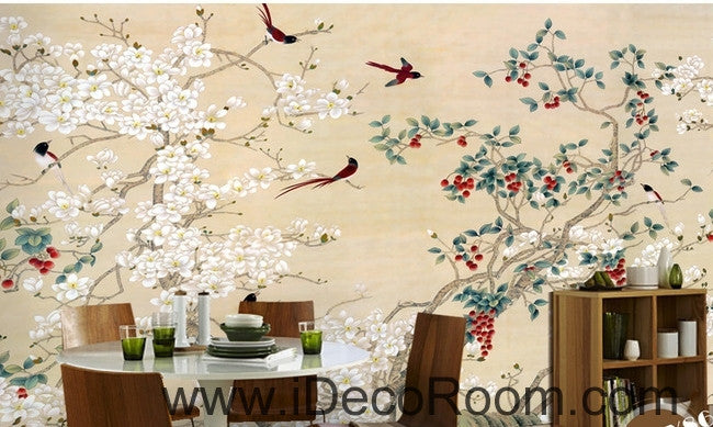 New Chinese flowers and birds Yangmei magnolia flower on the magpie bird painting wall art wall decor mural wallpaper wall  IDCWP-000209