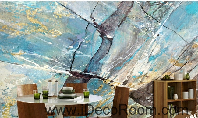 Fresh blue abstract lines stains stains painted wall art wall decor mural wallpaper wall  IDCWP-000210
