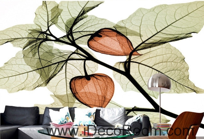 Beautiful dream fresh green leaves orange lantern flowers transparent flowers background IDCWP-000211
