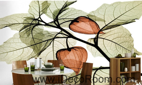 Image of Beautiful dream fresh green leaves orange lantern flowers transparent flowers background IDCWP-000211