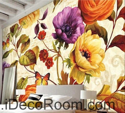 Retro blooming flowers rose peony butterfly oil painting effect wall ...