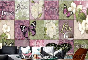 Fresh pattern floral butterfly gardenia camellia oil painting effect wall art wall decor mural wallpaper wall  IDCWP-000214