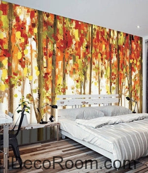 Retro made old abstract forest forest tree oil painting effect wall art wall decor mural wallpaper wall  IDCWP-000218