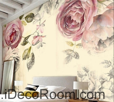 Image of Retro Old Rose Garden Pastoral Rose wall art wall decor mural wallpaper wall  IDCWP-000219