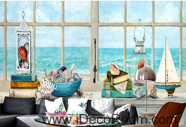 A beautiful fresh dream blue sea water white windowsill oil painting effect wall art wall decor mural wallpaper wall  IDCWP-000220
