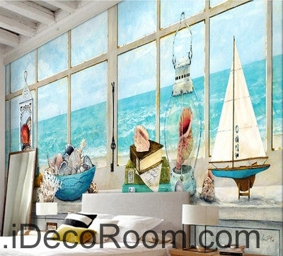 Image of A beautiful fresh dream blue sea water white windowsill oil painting effect wall art wall decor mural wallpaper wall  IDCWP-000220
