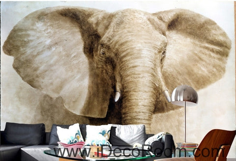 Retro Old Animals Elephant Head Closeup oil painting effects wall art wall decor mural wallpaper wall paper IDCWP-000221