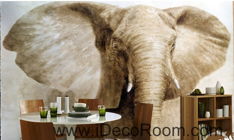 Image of Retro Old Animals Elephant Head Closeup oil painting effects wall art wall decor mural wallpaper wall paper IDCWP-000221