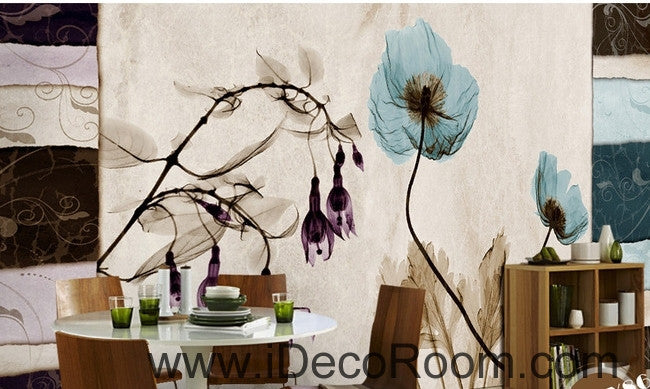 Beautiful dream fresh blue bloom lantern flowers poppy flowers transparent flowers IDCWP-000222