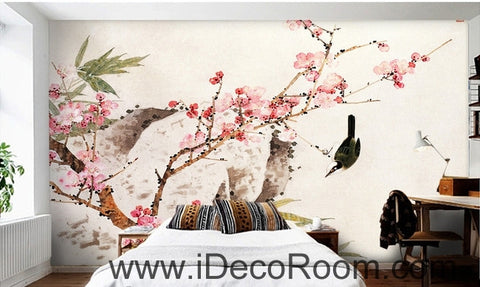 Image of Retro beautiful pink peach tree branches on the bird magpie oil painting effect wall art wall decor mural wallpaper wall  IDCWP-000223