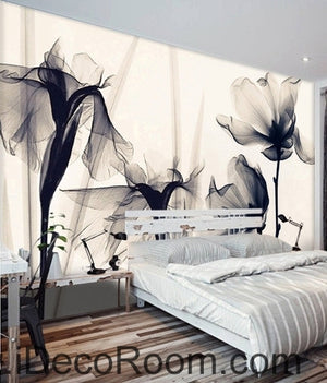 [For Natalie] Beautiful classic black and white art lily rose transparent transparent wall art wall decor mural wallpaper wall  IDCWP-000225 for