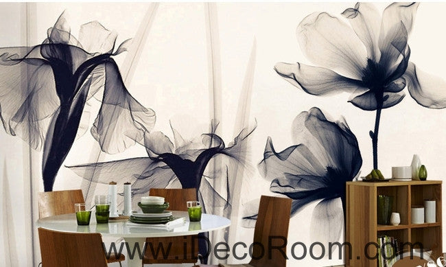Beautiful classic black and white art lily rose transparent transparent wall art wall decor mural wallpaper wall  IDCWP-000225