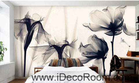 Image of Beautiful classic black and white art lily rose transparent transparent wall art wall decor mural wallpaper wall  IDCWP-000225
