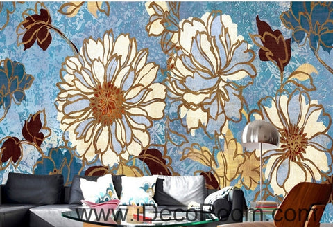 Image of Beautiful fresh blue sky abstract flowers peony oil painting effect wall art wall decor mural wallpaper wall  IDCWP-000226