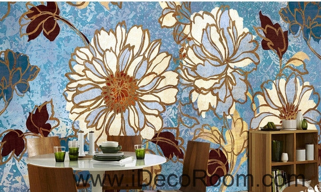 Beautiful fresh blue sky abstract flowers peony oil painting effect wall art wall decor mural wallpaper wall  IDCWP-000226