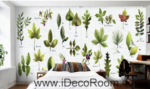 Image of Beautiful little fresh green plant pattern tree leaves tree oil painting effect wall art wall decor mural wallpaper wall  IDCWP-000227