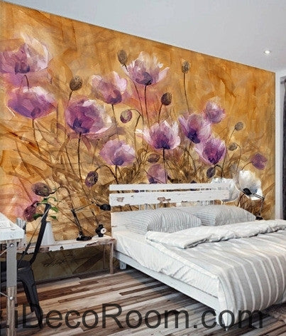 A beautiful dream romantic bloom pink poppy oil painting effect wall art wall decor mural wallpaper wall  IDCWP-000228