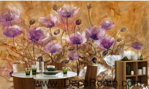 Image of A beautiful dream romantic bloom pink poppy oil painting effect wall art wall decor mural wallpaper wall  IDCWP-000228