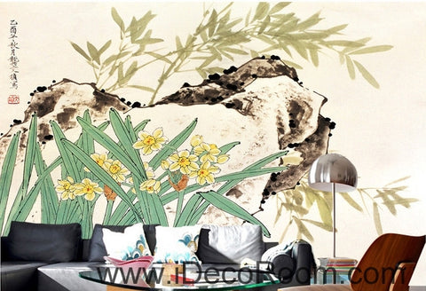 Image of Retro rockery leaves bamboo forest flowers landscape oil painting effect wall art wall decor mural wallpaper wall  IDCWP-000229
