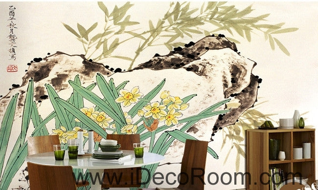 Retro rockery leaves bamboo forest flowers landscape oil painting effect wall art wall decor mural wallpaper wall  IDCWP-000229