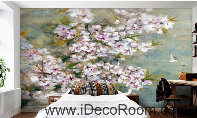 Beautiful Dream Romantic Pink Cherry Blossom Peach Blossom oil painting effect wall art wall decor mural wallpaper wall  IDCWP-000232