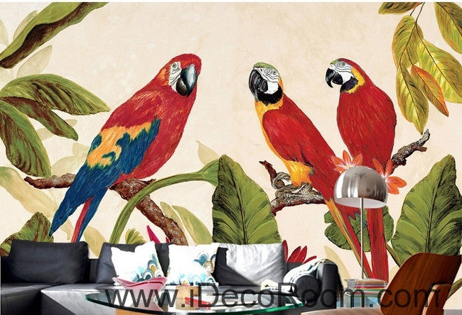 Beautiful dream tree branches on the red three parrot oil painting effect wall art wall decor mural wallpaper wall  IDCWP-000233