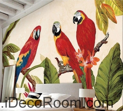 Image of Beautiful dream tree branches on the red three parrot oil painting effect wall art wall decor mural wallpaper wall  IDCWP-000233