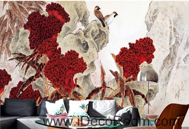 Retro Hongyan a piece of cockscomb flowers on the magpie bird oil painting effect wall art wall decor mural wallpaper wall  IDCWP-000235