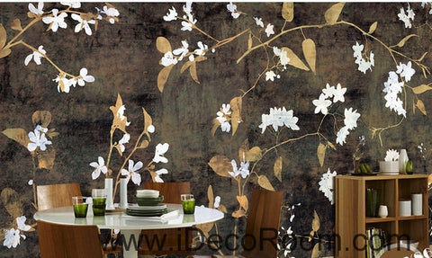 Retro black background pattern small floral painting wall art wall decor mural wallpaper wall  IDCWP-000236