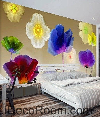 A beautiful dream colorful multicolored blooming poppy flowers transparent wall art wall decor mural wallpaper wall  IDCWP-000237
